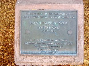 Handicapped War Veterans Plaque-Dedicated to citizens of Santa Clara, July 4, 1992 (medium sized photo)