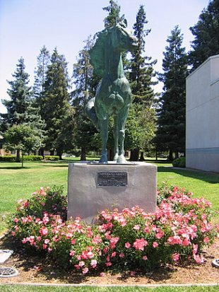 Morgan Horse Statue-Left of front entrance to the Triton Museum of Art (medium sized photo)